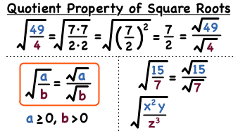 What is the Quotient Property of Square Roots?   Virtual Nerd