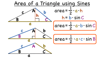 what is the formula for the area of a triangle using sines