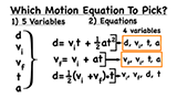 How do you know which kinematic motion equation to pick when solving problems?