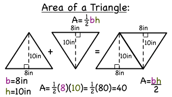 what is the formula for the area of a triangle virtual nerd